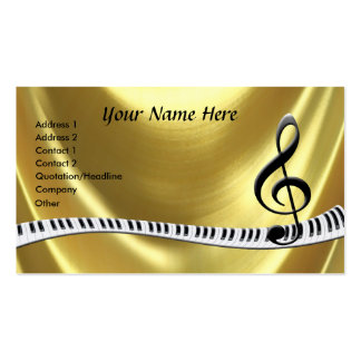 G-Clef Gold Piano Keyboard Business Card