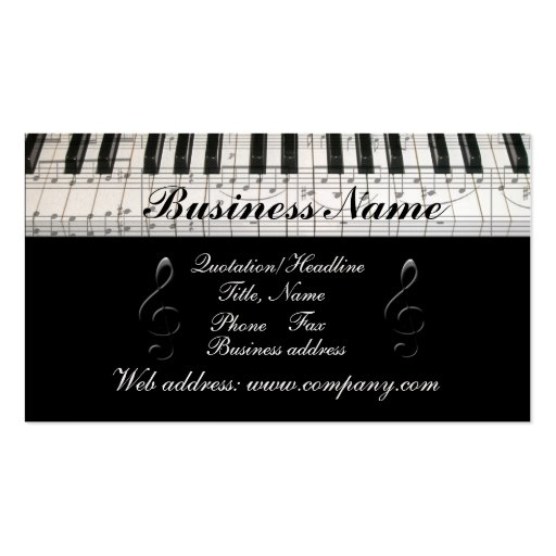 G-Clef Music Notes Piano Keyboard Business Card