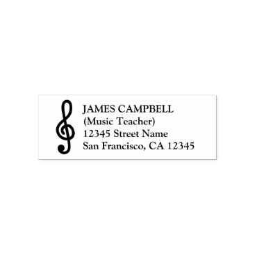 Beach Themed G clef music teacher self inking address stamps