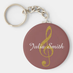 G-clef Musical Note Personalized With Name Keychain at Zazzle