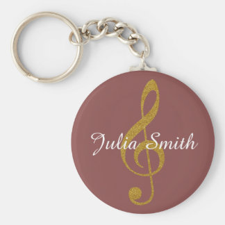 g-clef musical note personalized with name keychain