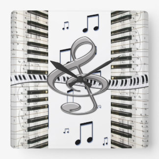 G-clef Piano Keyboard clock
