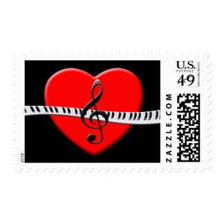 G-Clef Piano Keys and Heart Postage