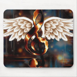 G Clef with Wings Mouse Pad