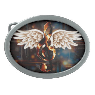 G Clef with Wings Oval Belt Buckle