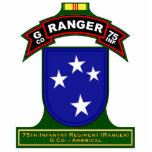"""G Co, 75th Infantry Regiment - Ranger, Vietnam Statuette<br><div class=""""desc"""">Cut outs for desk or other display featuring a variety of Ranger graphics from beret flash,  tabs,  scrolls,  etc.</div>"""