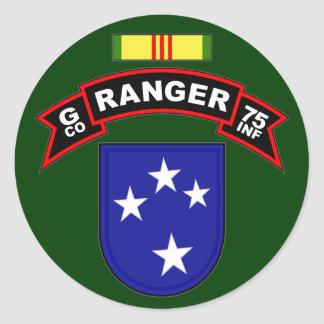 G Co, 75th Infantry Regiment - Rangers, Vietnam Classic Round Sticker