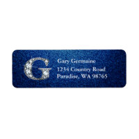 "G ""Diamond"" Bling Monogram Return Address Label"