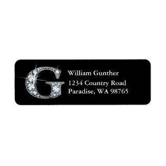 """""""G"""" Diamond Bling Monogram Return Address Label"""