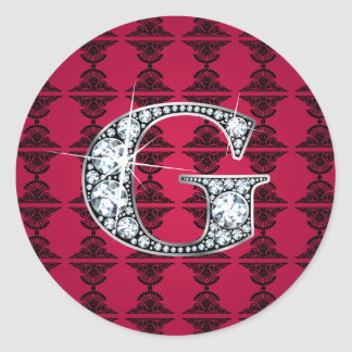 """G"" Diamond Bling on Damask Sticker"
