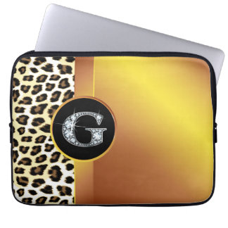 "G ""Diamond"" Gold Leopard & Ribbon Electronics Ba Computer Sleeve"