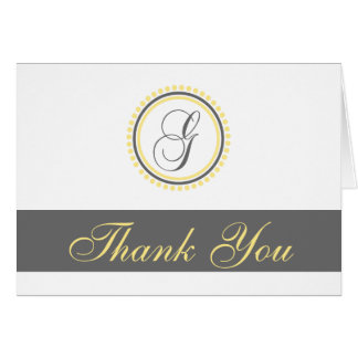 G Dot Circle Monogam Thank You Cards (Yellow/Gray)
