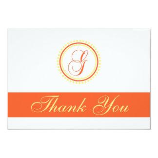 G Dot Circle Monogam Thank You (Orange / Yellow) Card
