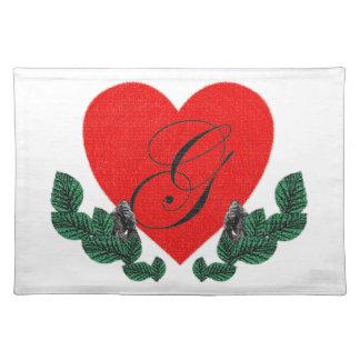 G en un corazón (personalizable) manteles