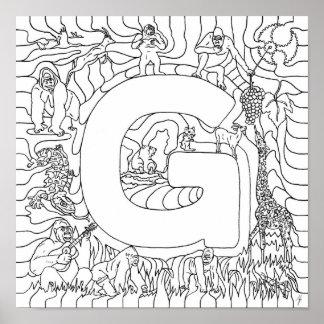 G está para el color del gorila en letra impresiones
