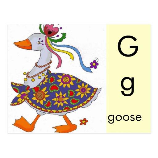 G está para el ganso tarjetas postales