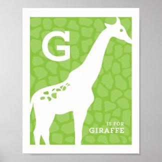 G está para el poster del alfabeto de la jirafa
