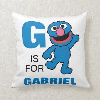 G está para Grover que los | añaden su nombre Cojín Decorativo