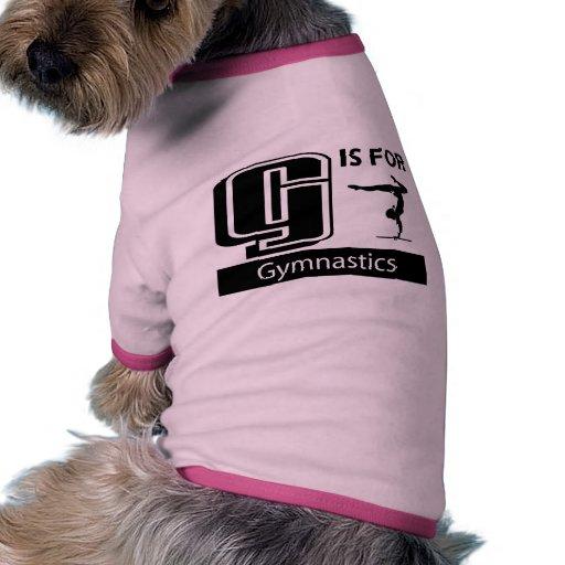 G está para la gimnasia camiseta de perrito