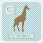"""""""G"""" está para la jirafa Calcomanía Cuadrada"""