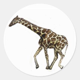 G está para la jirafa pegatinas redondas