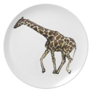 G está para la jirafa plato para fiesta