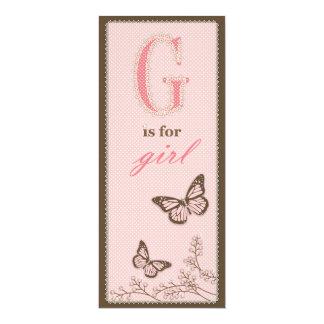 G está para la tarjeta del menú del chica invitación 10,1 x 23,5 cm