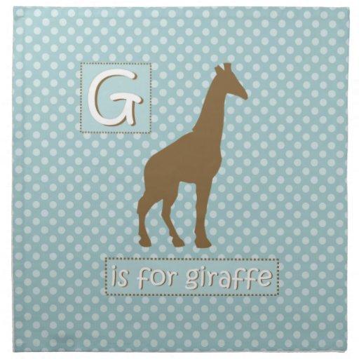 """""""G"""" está para las servilletas del fiesta de la jir"""
