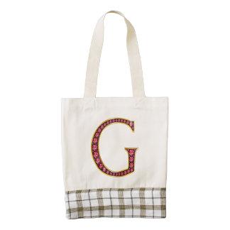 "G Faux-""Ruby"" Monogram Zazzle HEART Tote Bag"
