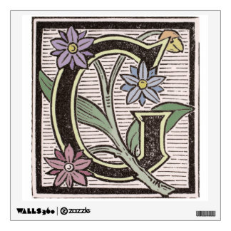 G Floral Initial Cap Wall Peel Wall Decal