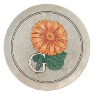 G for Gerbera Flower Alphabet Monogram Dinner Plate