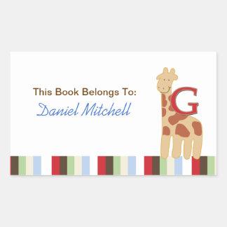 G for Giraffe Alphabet Soup Book Plate Sticker