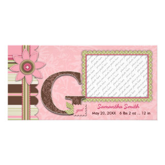 G Girl Baby Announcement Photo Card