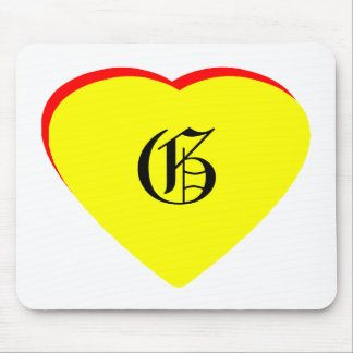 """G"" Heart Yellow Red Wedding Invitation The MUSEUM Mouse Pad"