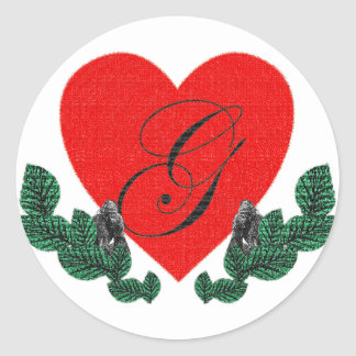 G in a heart ( customizable) classic round sticker