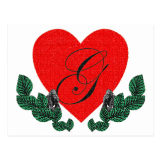 G in a heart ( customizable) postcard