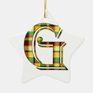 G initial in plaid ceramic ornament