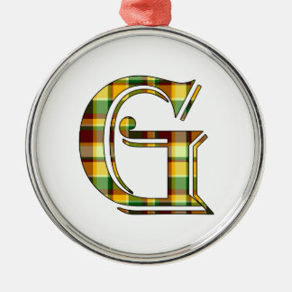G initial in plaid metal ornament