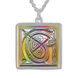 "G Initial Monogram ""Celtic Rainbow"" Necklace Personalized Necklace"