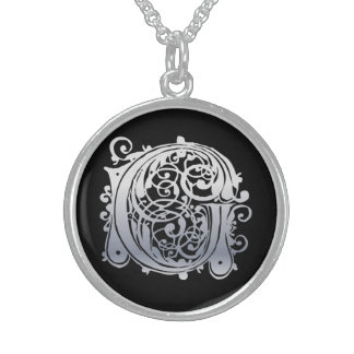 "G Initial Monogram ""Silver Lace on Black"" Necklace"