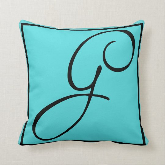 G INITIAL PILLOW - Letter G on Aqua Background