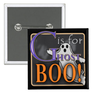 G Is For Ghost BOO! Pinback Button