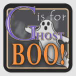 G Is For Ghost BOO! Square Sticker