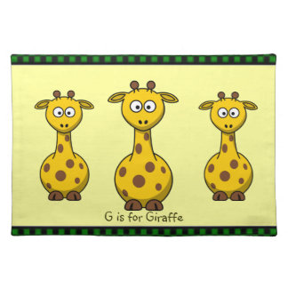 G is for Giraffe 3 Cartoon Zoo Animals Kid's Cloth Placemat