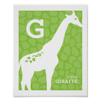 G is for Giraffe Alphabet Poster