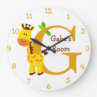 G is for Giraffe and Gabriel-Child's Bedroom Large Clock