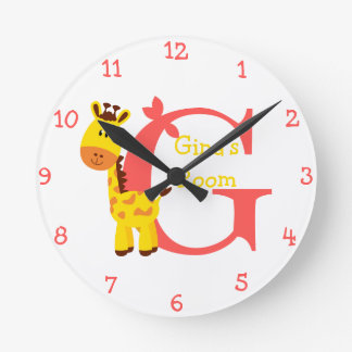 G is for Giraffe and Gina-Child's Bedroom Round Clock