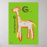 'G is for giraffe' digital painting poster