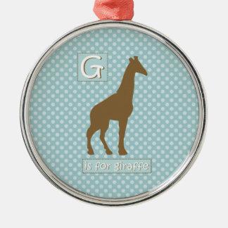 """G"" is for Giraffe Metal Ornament"
