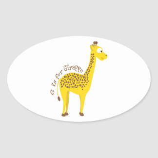 G is for Giraffe Oval Sticker